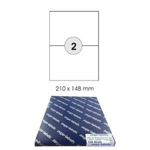 200 A5 labels 210 x 148 mm self-adhesive on DIN A4 sheets (1x2 labels DIN A5) - 100 sheet pack - Can be used universally for laser / inkjet / copier - 210x148mm - 2 parts